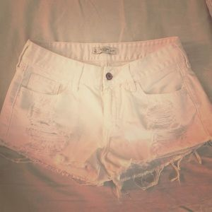 Abercrombie & Fitch white distressed denim shorts